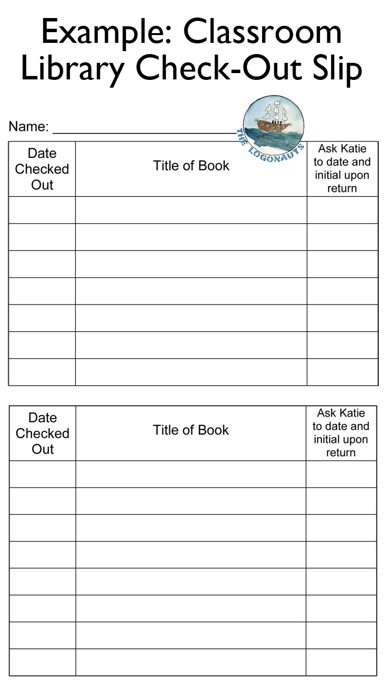 Example Clroom Library Check Out Slip Labeling And Tracking A