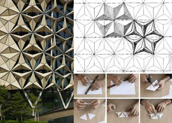 contoh Bangunan arsitektur dan origami