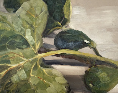 Study of a fig leaf, oil on canvasboard 24x30cm by Philine van der Vegte