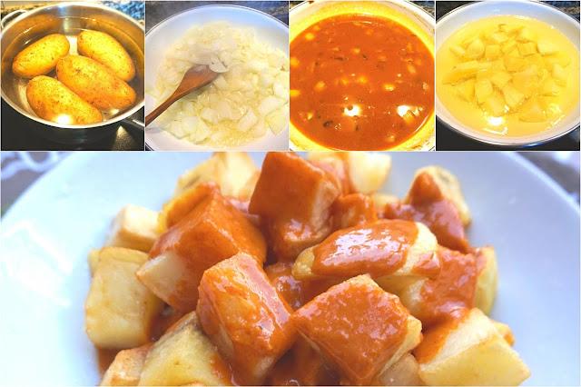 Patatas con salsa brava. Bravas como las de los bares.