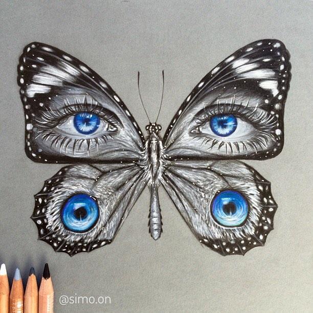 10-Butterfly-Eyes-Simon-Balzat-Colored-Pencils-make-Beautiful-Drawings-www-designstack-co