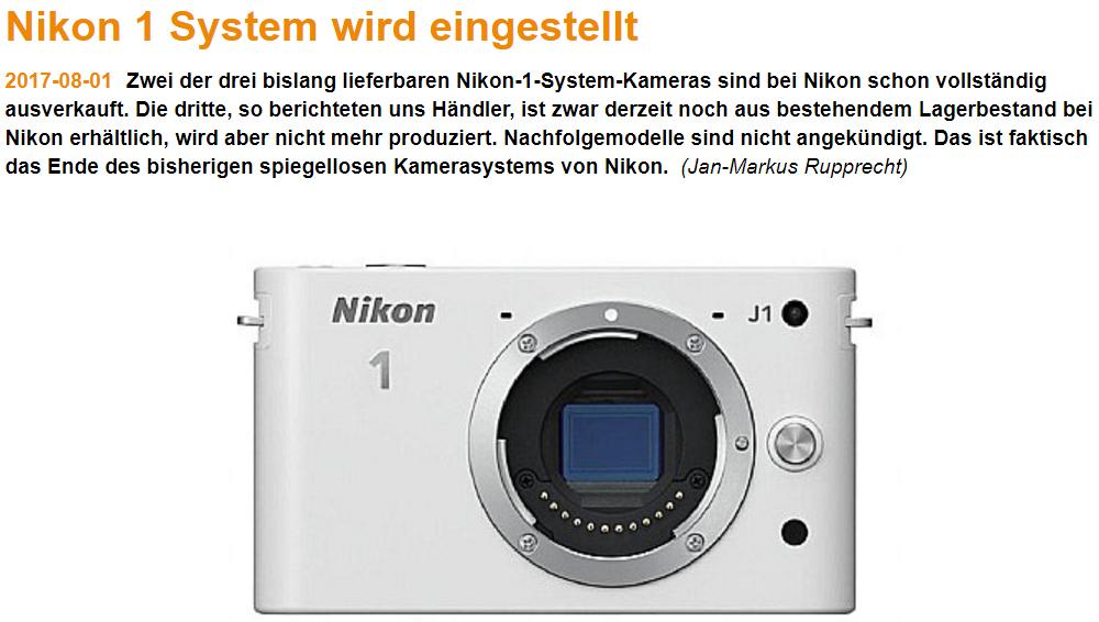 Digitalkamera сообщает об остановке производства камер Nikon 1