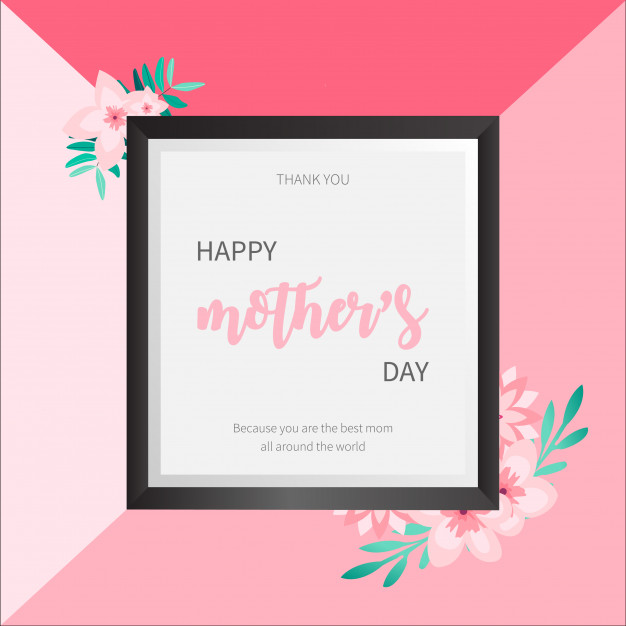 Lovely Mother's day frame with cherry blossom flowers Free Vector