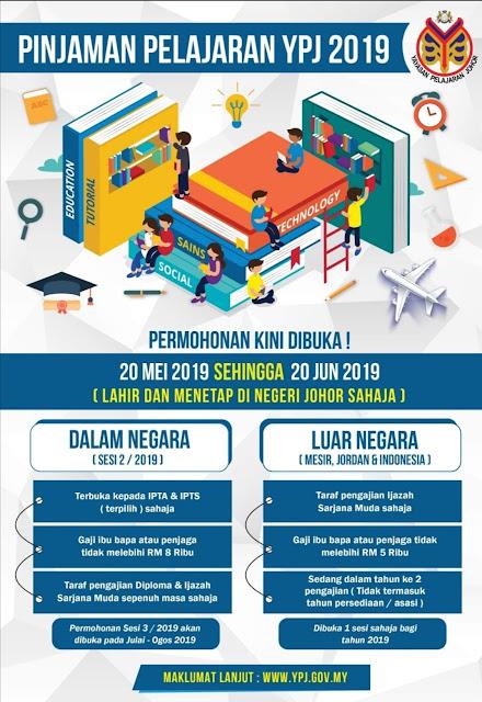 Permohonan Pinjaman YPJ 2019 Online (Yayasan Pelajaran Johor)