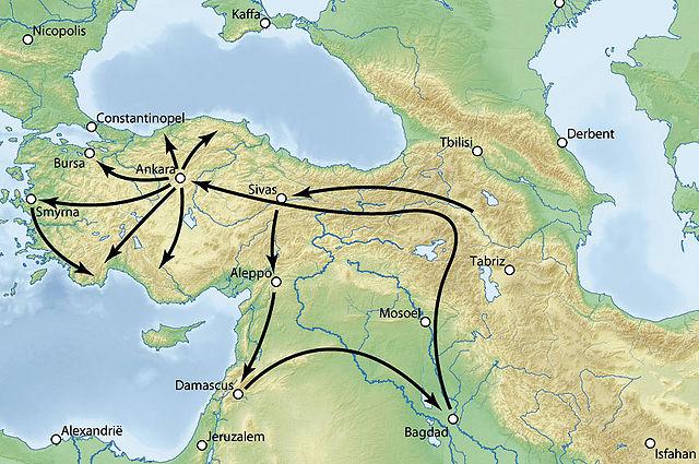 Timurid army movement in anatolia