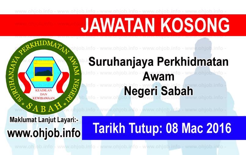 Jawatan Kerja Kosong Suruhanjaya Perkhidmatan Awam Negeri Sabah logo www.ohjob.info mac 2016