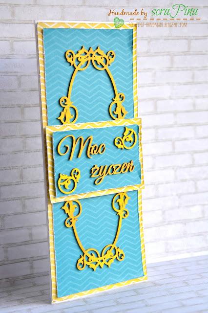 uniwersalna kartka na urodziny imieniny ręcznie robiona scrapina handmade scrapbooking moc życzeń papiery bee scrap zółta turkusowa tekturki życzenia