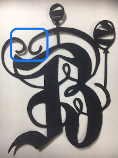 """切り絵初心者向け無料図案 アルファベットシリーズ """"B""""の切り方のコツ"""