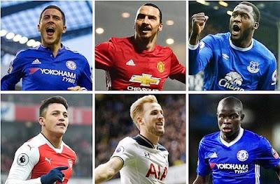 Hazard, Ibrahimovic, Kane, Others Shortlisted for 2017 PFA Player of the Year Award