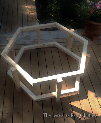 Fire Bowl Table Hexagon Shaped Frame