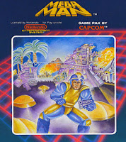 Portada de Mega Man, un dibujo realmente cutre del robot azul y amarillo