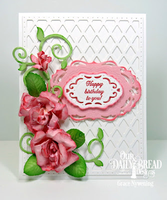 Our Daily Bread Designs Stamp Set: Lovely Flowers,Custom  Dies:  Roses, Rose Leaves, Lattice Background, Vintage Labels, Fancy Foliage
