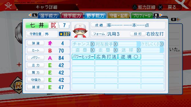 パワプロ 星 名将甲子園 選手能力 七井=アレフト