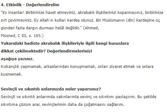 5. Sınıf İlke Yayınları Din Kültürü Ders Kitabı 63. Sayfa Cevapları 3.Ünite