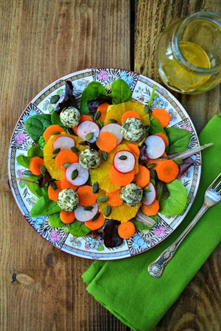 carrot and orange salad with goat cheese