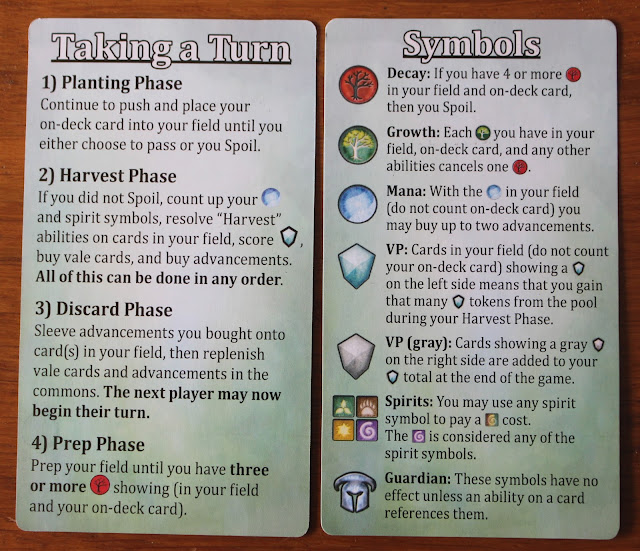 Mystic Vale - player reference cards