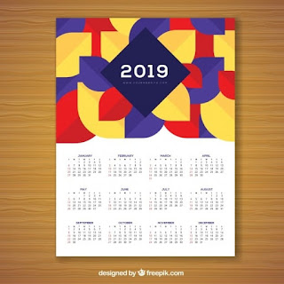 Calendario geométrico colorido para 2019 Vector Gratis