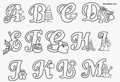 Alfabeto natalino preto e branco