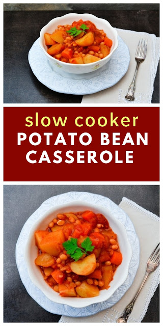 A lightly spiced vegan casserole made in the slow cooker or crockpot. Potatoes, carrots and haricot beans in a spicy tomato sauce makes a comforting family meal. Leftover portions can be chilled or frozen. #slowcookerstew #slowcookercasserole #slowcookervegetablestew #stew #vegetablestew #vegetablecasserole #haricotbeans #potatoes #easyslowcooker #crockpotstew #crockpotbeanstew #crockpotcasserole #veganstew
