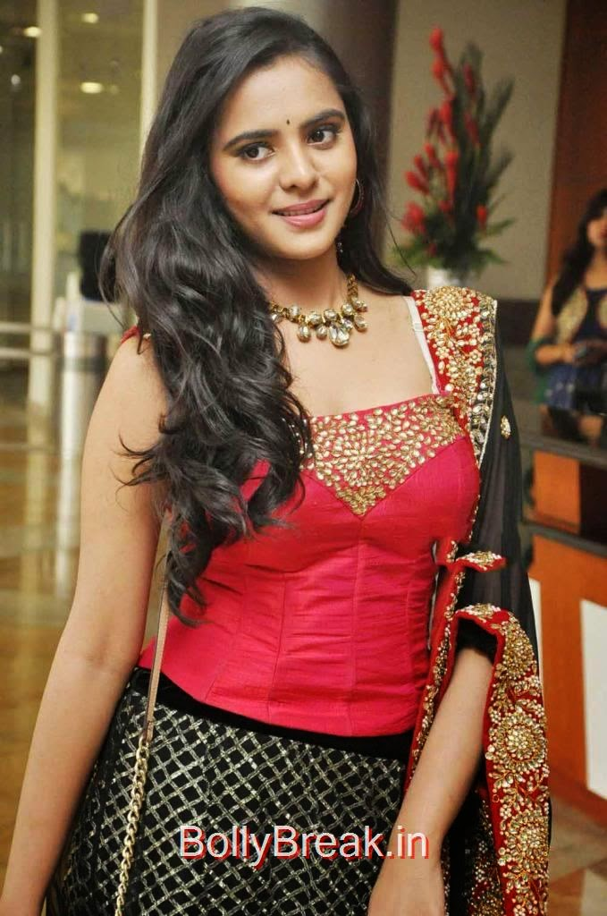 Manasa images, Manasa hot pics n Red and Black Lehenga