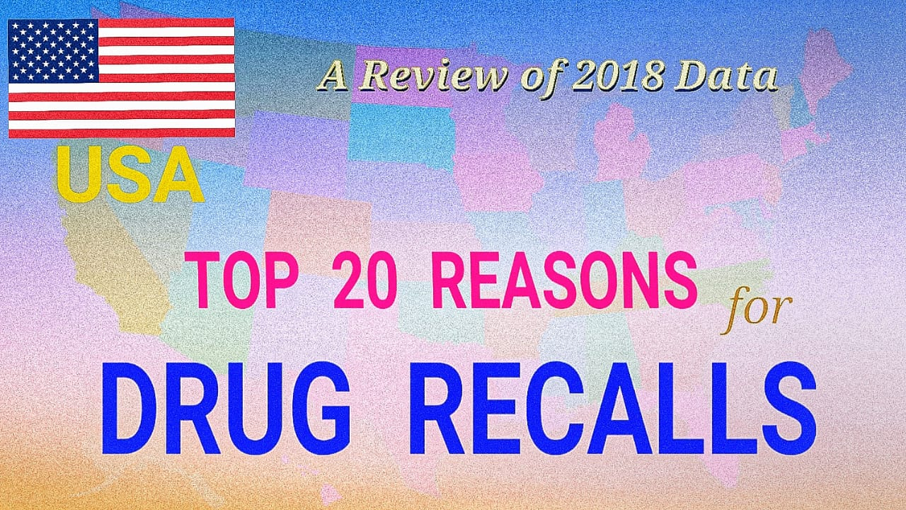Top 20 Reasons For Drug Recalls in USA - Review of 2018 Data