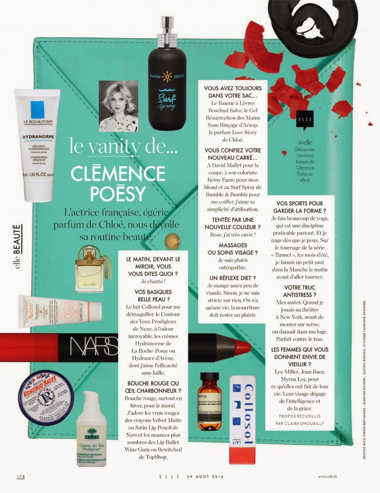 ELLE France 2014-08-29 Le vanity de Clémence Poésy