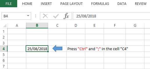 Ctrl + ; Shortcut Excel To Insert The Current Date in any cell you want.