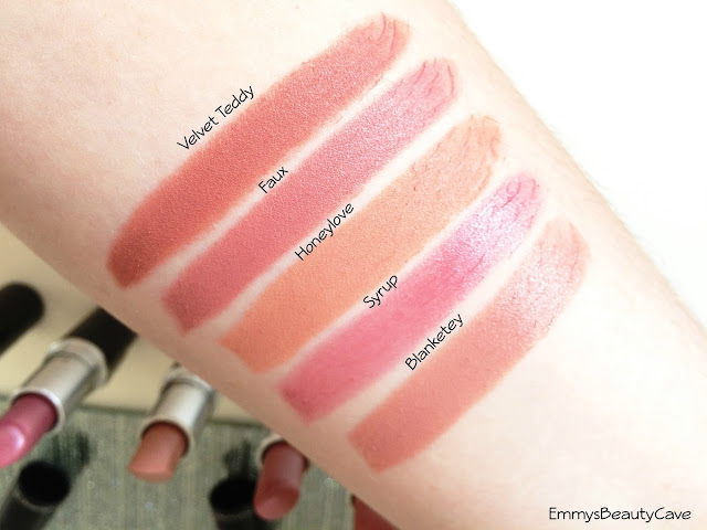 MAC Lipstick Swatches Velvet Teddy Faux Honeylove Syrup Blankety