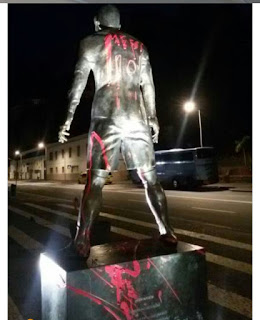 See what Fans did to Cristiano Ronaldo's Statue In His Hometown