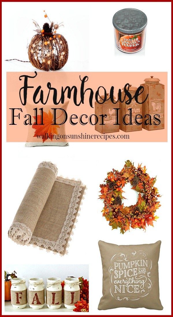 Farmhouse Fall Decor Ideas featured on Walking on Sunshine
