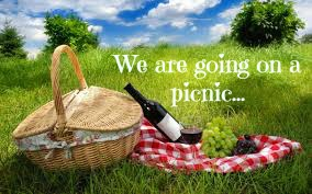 """Side view of a picnic basket with a plaid cloth, wine, and grapes in a grassy field with the words \""""We are going on a picnic\"""""""