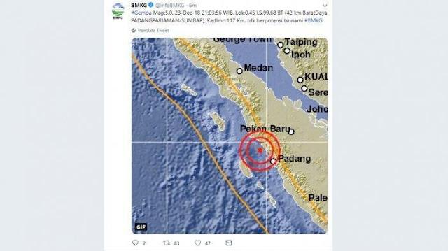 Usai Tsunami Selat Sunda, Giliran Padang Diguncang Gempa