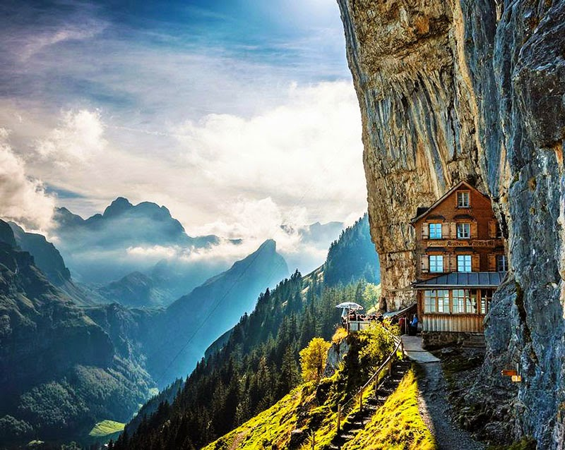 10. Äscher Cliff Restaurant, Switzerland - 10 Amazing Hotels You Need To Visit Before You Die