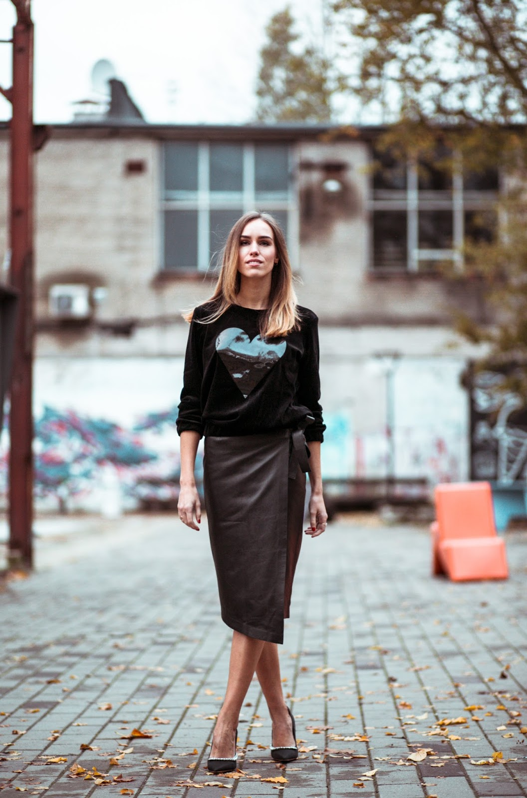 black velvet sweatshirt leather wrap midi skirt