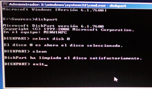 saliendo del diskpart para la instalación de Win7