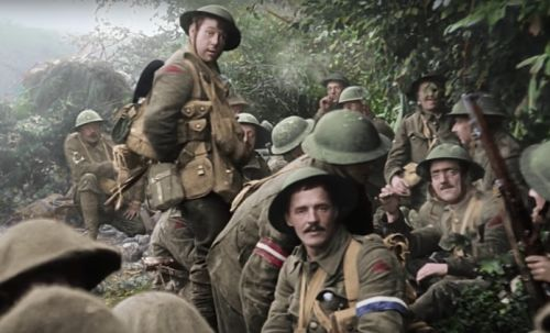 WWI British troops at rest in They Shall Not Grow Old