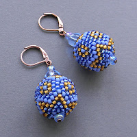 beaded bead beadwork seed bead earrings blue gold beadwoven anabel