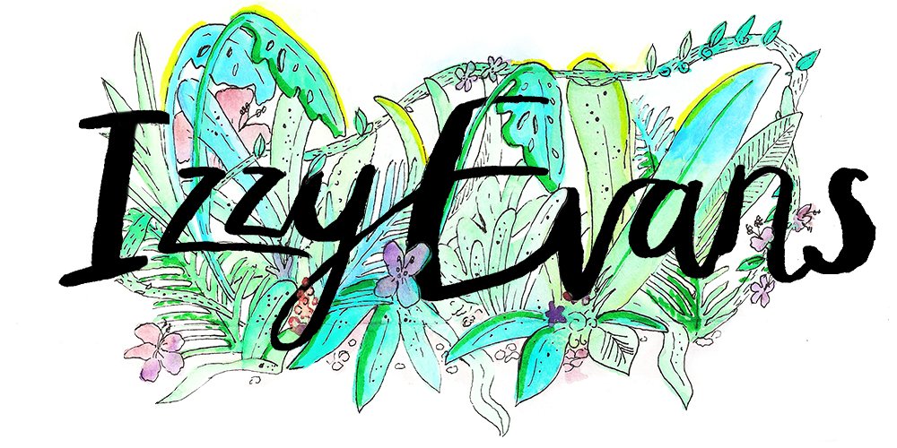 Jungle illustration for Izzy Evans blog header by Sarah Docker