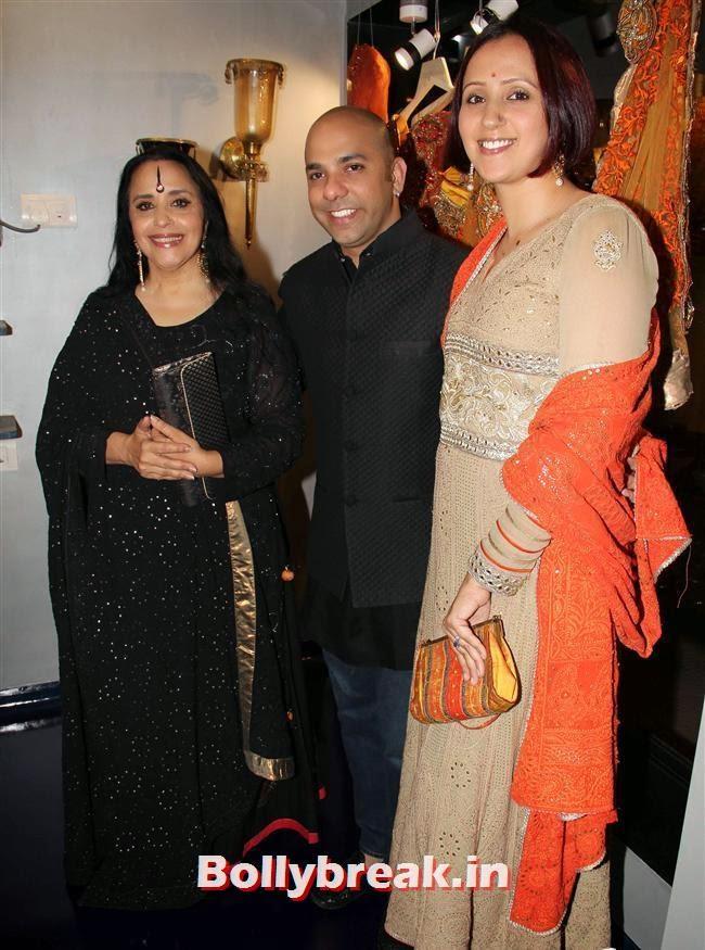 Ila Arun, Mayyur Girotra and Ishita Arun, Celebs at Opening of Mayyur Girotra Couture