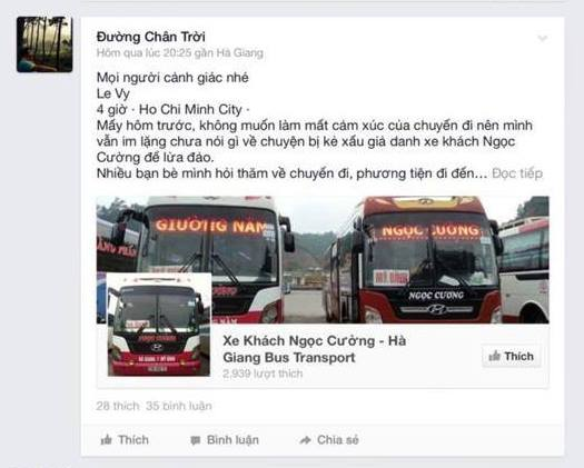 Hứa Luật Phong lập facebook giả mạo nhà xe Ngọc Cường (chuyên chạy HN-Hà Giang) để chiếm đoạt tiền vé của khách du lịch, khách đi phượt