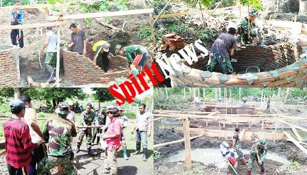 Warga dan Personil Kodim 1415, Gotong Royong Membuat Pondasi Sumur Jembatan