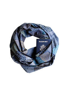 cotton infinity scarf that hides a passport