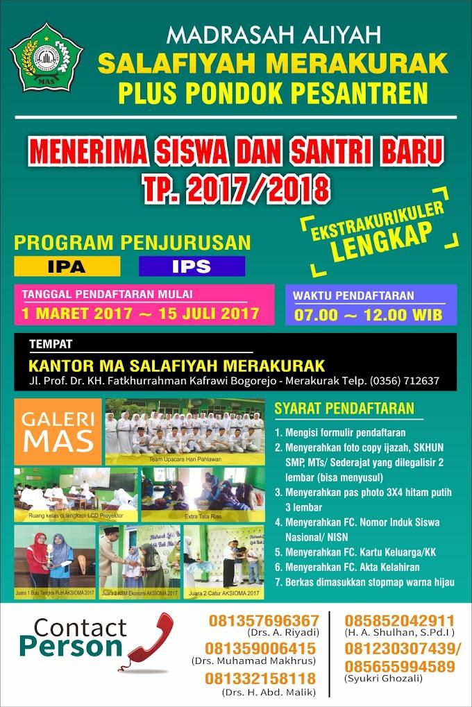 Informasi PPDB MA Salafiyah Merakurak TP. 2017/2018