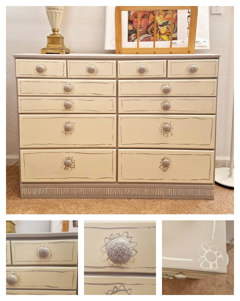chalk painted old beat up dresser has new life with hand painted details