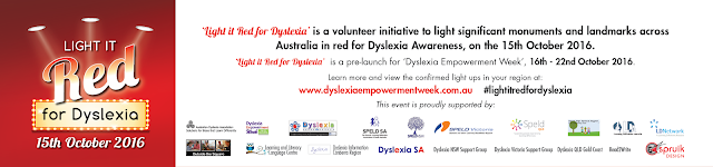 Light it Red for Dyslexia banner