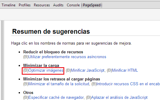Resumen de sugerencias de Pagespeed