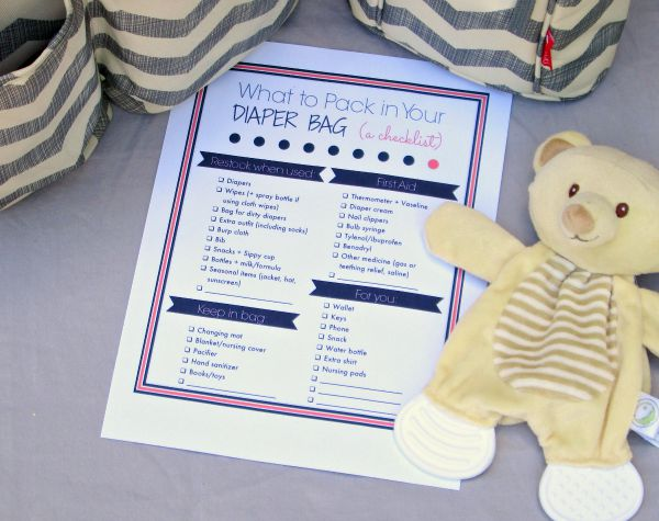 A perfectly packed diaper bag printable checklist: Don't forget any of those baby essentials!
