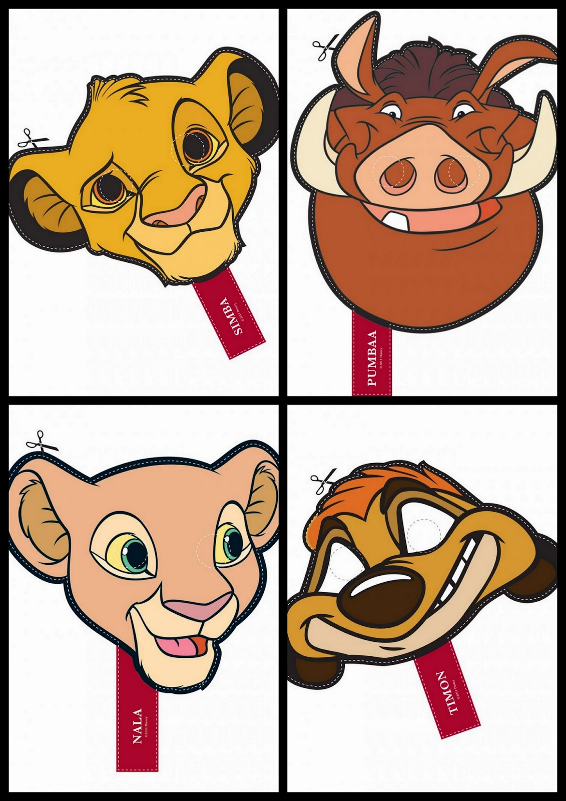 Cute Lion King Free Printable Masks