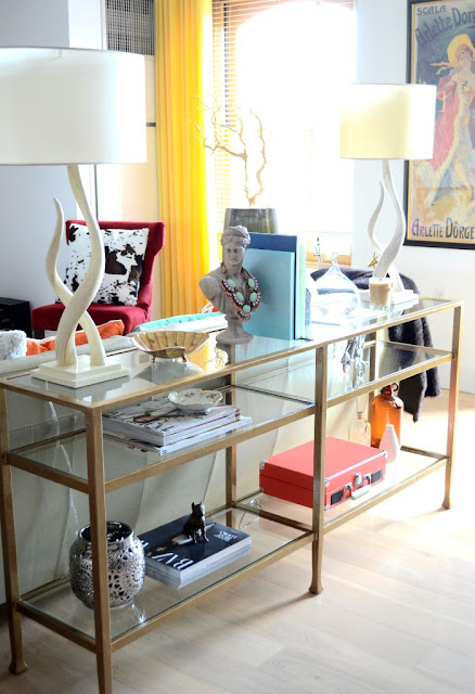 Pottery.Barn.Iron.Tanner.Long.Console.Sofa.Table.Before+After