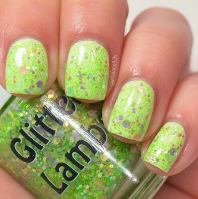 "Lime Green Eyeshadow ""Fashion Makeover Collection"" Glitter Lambs Nail Polish Swatched By @JessFace90x"